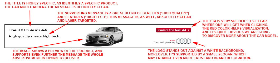 Audi.com desktop banner ad analyzed.