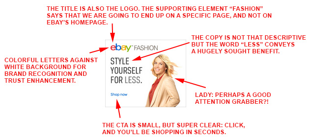 eBay.com desktop banner ad analyzed.