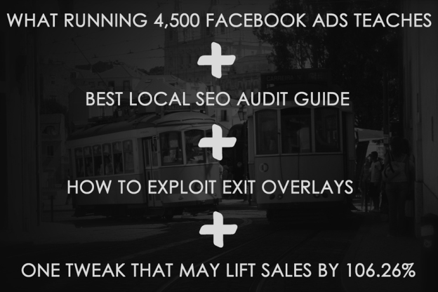 Facebook ads tips, seo audit, exit overlays, site optimization.
