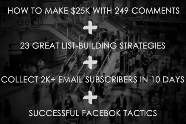 Make money comments, email marketing tips, facebook tips.