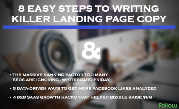 Landing page step process.