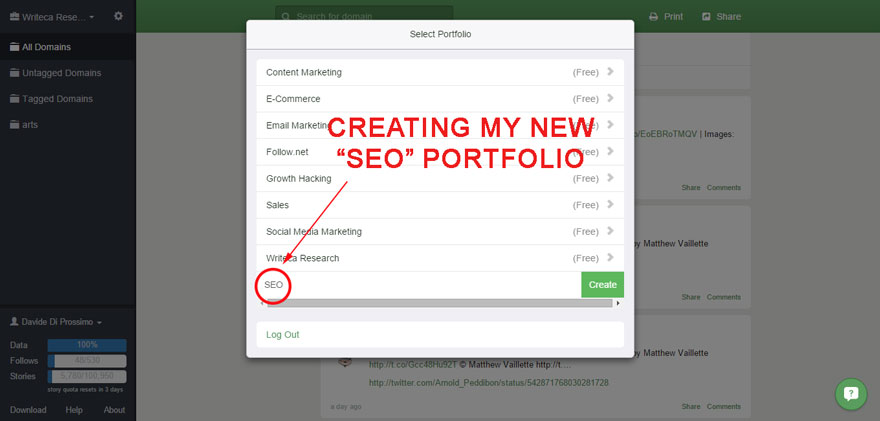 Creating a SEO portfolio in Follow (third step).
