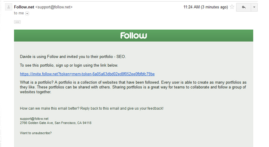 Inviting team member via email to SEO portfolio in Follow.