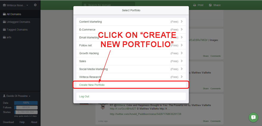 SEO portfolio created in Follow (second step).