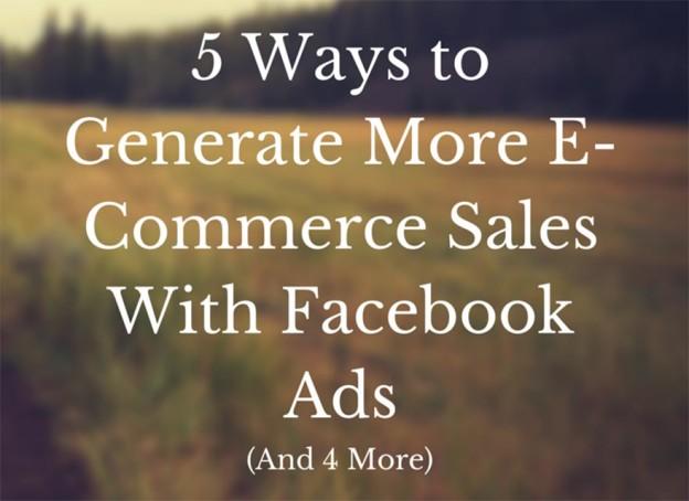 Facebook e-commerce sales.